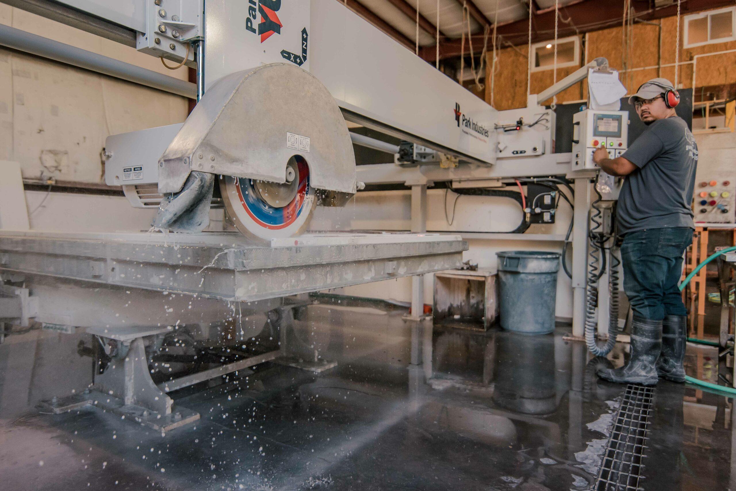 Granite World Employee Working on a fabrication