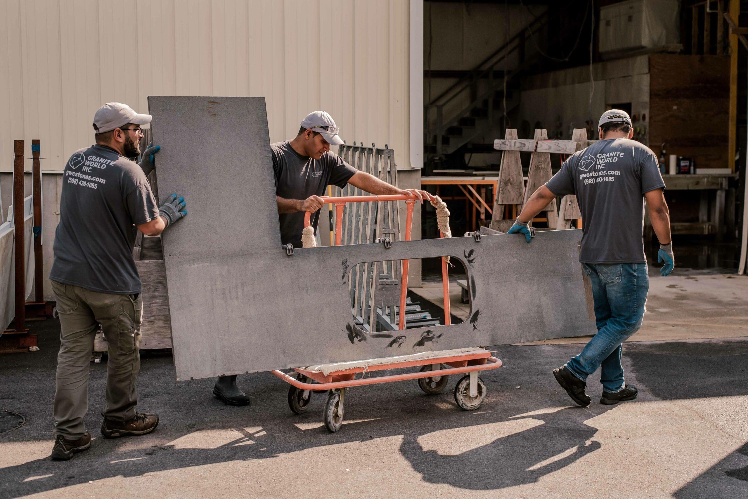 Granite World Employee Working on a countertop fabrication